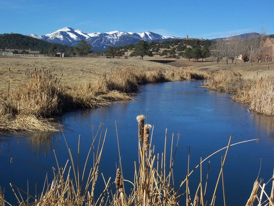 Some cattails mark a pond northwest of Ruidoso with a great view of Sierra Blanca Peak.