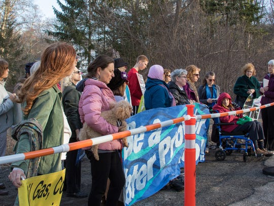 Activists gathered in front of Governor Anderw Cuomo's house in Mount Kisco on Sunday, April 2, 2017, to raise concerns about the Algonquin Pipeline project and other environmental issues