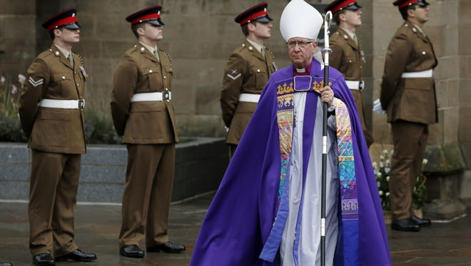 Tim Stevens, bishop of Leicester, arrives at Leicester Cathedral for the burial of King Richard III, on March 26, 2015.