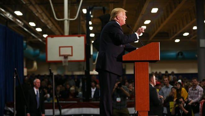 Donald Trump campaigns in Iowa City, Iowa, on Jan. 26, 2016.