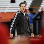 U of L head coach Rick Pitino conducts practice ahead of playing NC State in the Sweet 16 in the NCAA tournament.March 26, 2015