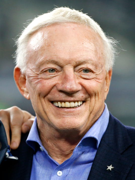 FILE - In this Sept. 1, 2016, file photo, Dallas Cowboys team owner Jerry Jones smiles on the sideline during a preseason NFL football game against the Houston Texans, in Arlington, Texas. The Dallas Cowboys are worth $4.2 billion, making them the most valuable sports franchise for the second straight year, according to Forbes. (AP Photo/Ron Jenkins, File)