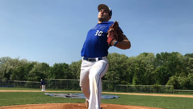 Paul VI senior Will Gambino delivers during a recent practice. Gambino, a Kentucky recruit, could be selected in the upcoming MLB Draft.