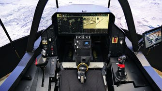The cockpit of the of the F-35 simulator from Lockheed Martin, which was on display at the Honeywell aerospace plant in Phoenix on May 28, 2015.