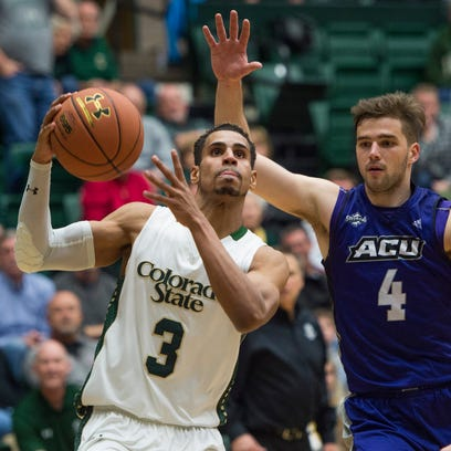 CSU's Gian Clavell drives for a layup during a Nov.