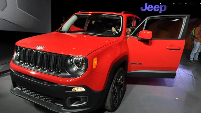 Eileen Blass,  USA today The Italian-built new Jeep Renegade is the brand?s first subcompact SUV. 4/16/14 9:42:04 AM -- New York, U.S.A  -- NYC Auto show.  --     2015 Jeep Renegade on display during Wednesday's press preview day at New York International Auto Show at the Jacob K. Javits Convention Center in New York. Photo by Eileen Blass, USA TODAY staff ORG XMIT:  EB 130924 New York Auto Sh 4/16/2014 [Via MerlinFTP Drop]