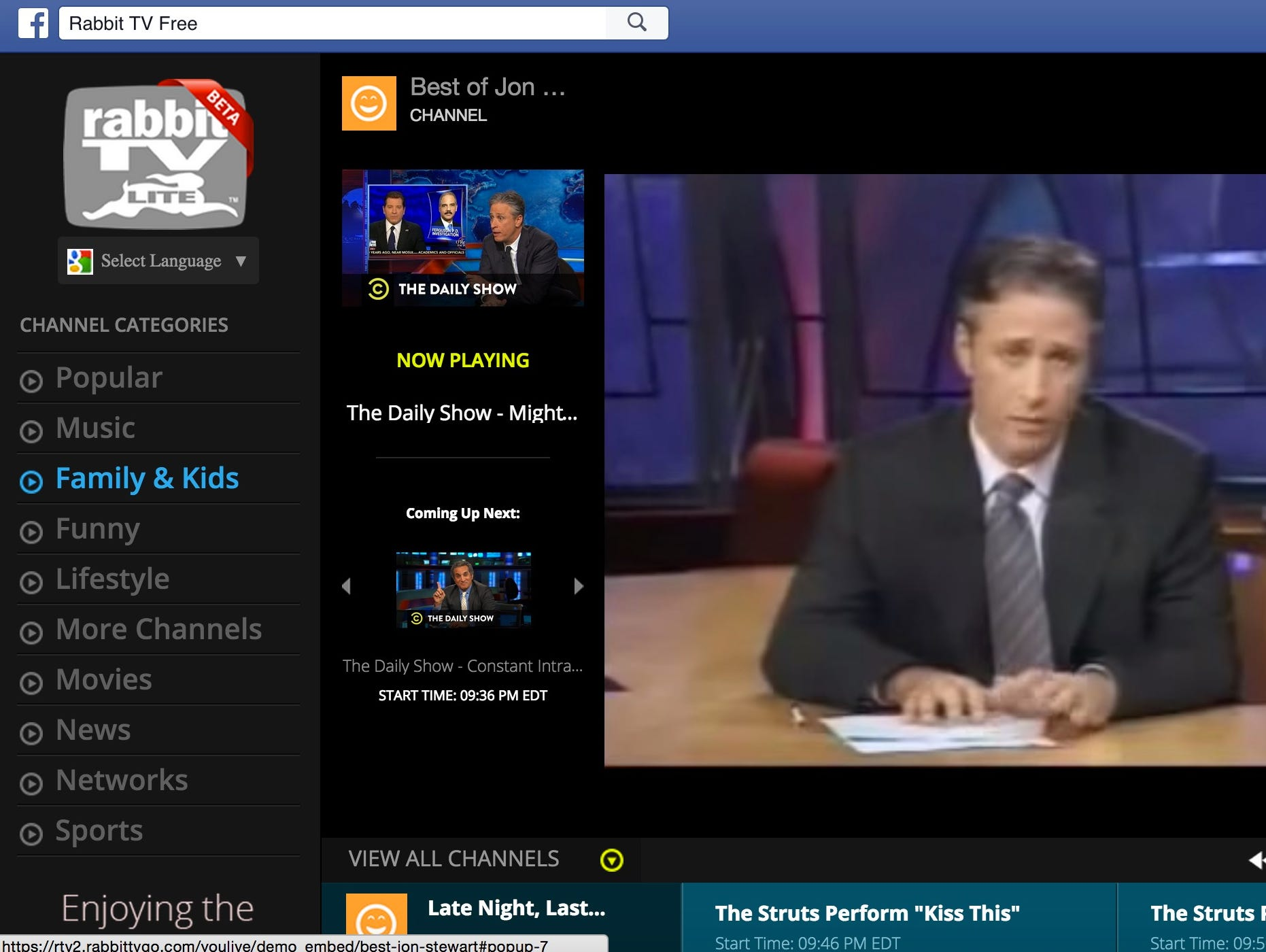A screen shot of Rabbit TV app on Facebook.