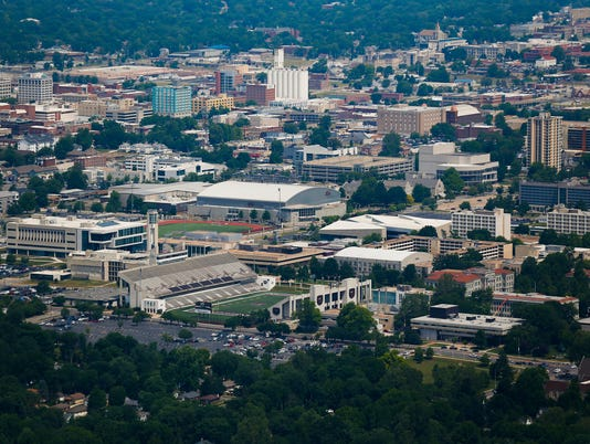 Missouri State University and downtown Springfield