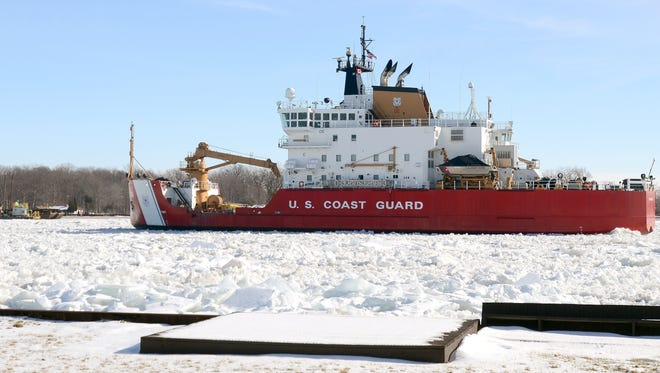 U.S. Coast Guard cutter Mackinaw breaks ice in the St. Clair River.