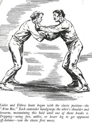 A depiction of 19th-century collar and elbow wrestling with a description of the position.