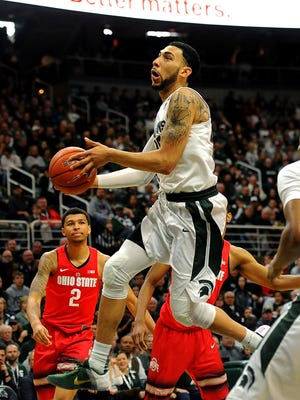 MSU's Denzel Valentine averaged 22 points and 10.5 assists in two games against Ohio State this season.