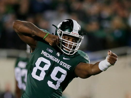 Michigan State defensive end Shilique Calhoun reacts