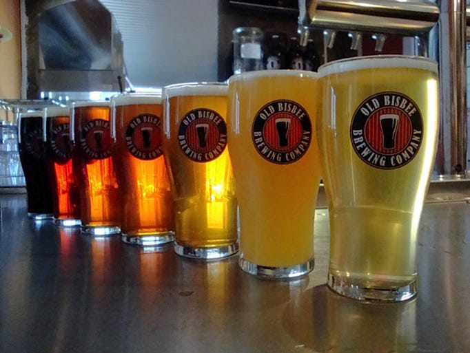 A selection of Old Bisbee Brewing Co.'s brews are shown,