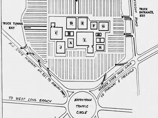 The original footprint of the Monmouth Shopping Center