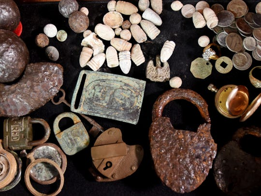 Items found by Mike and Mark Mangham while metal detecting.