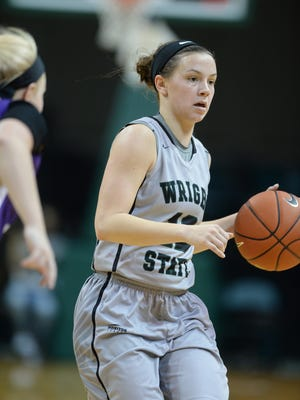Wright State University's Mackenzie Taylor moves the ball against Cincinnati Christian during a womens basketball game Tuesday, Dec. 8, 2015, in the Nutter Center.