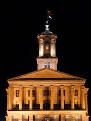 Tennessee state Capitol at night Jan. 30, 2017, in