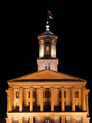 Tennessee state Capitol at night Jan. 30, 2017, in Nashville