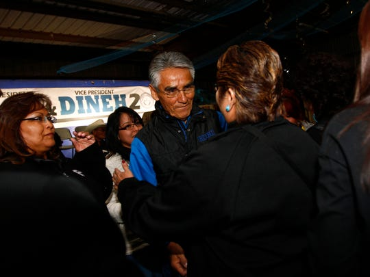 Joe Shirley Jr. thanks his supporters after losing the Navajo Nation special presidential election on April 21 at Nakai Hall in Window Rock, Ariz.
