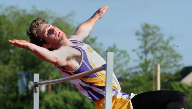 Unioto's Cole Cottrill competes at the Scioto Valley Conference Track and Field Meet earlier this season. Cottrill qualified for the OHSAA state meet Saturday morning in the high jump event.