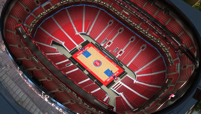 A virtual view of inside Little Caesars Arena from the Detroit Pistons, updated with the new logo.