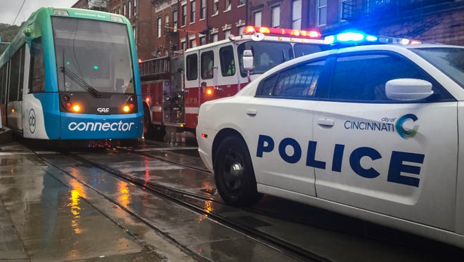 The Cincinnati Bell Connector was shut down Saturday after authorities cleared the streetcars following a bomb scare.