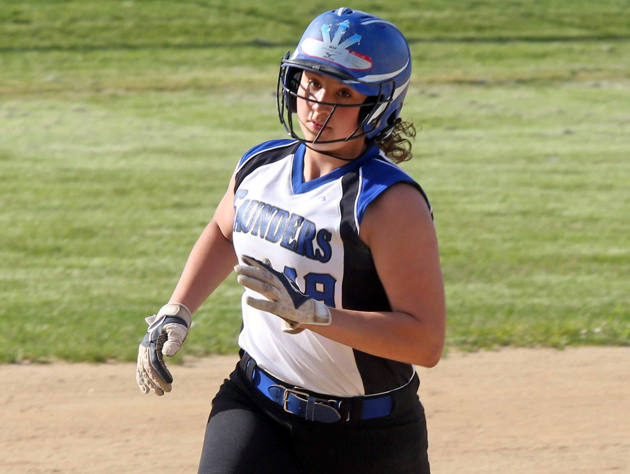 Cassidy Montes (19) of Saunders rounds the bases during Class AA first round playoff softball game against White Plains at Saunders High School in Yonkers on May 20, 2016.