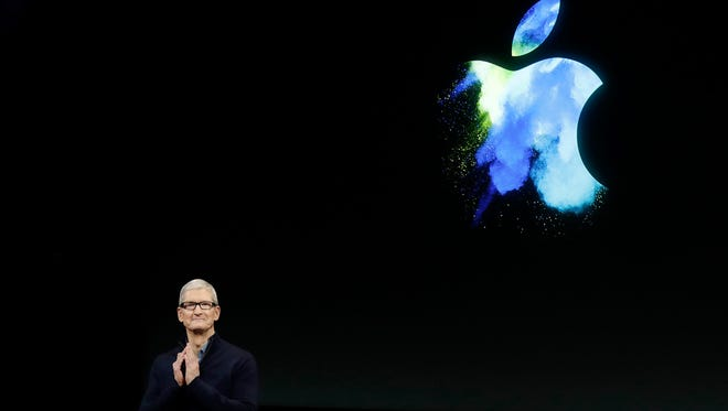File photo of Apple CEO Tim Cook speaking during an announcement of new products in Cupertino, Calif., on Oct. 27, 2016.