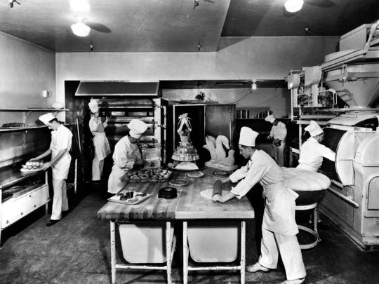 Historic image of the pastry kitchen at the Netherland Plaza
