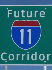A sign designates the future path of Interstate 11 in Arizona.