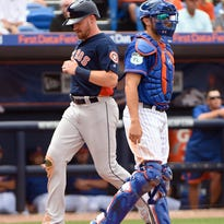 Derek Fisher gets the call to big leagues, homers in debut