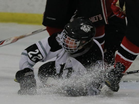 Plymouth's Jake Silvester hits the ice Wednesday, but he got revenge by scoring two goals in the third period.