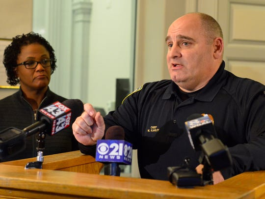 Chief Wes Kahley comments during the Mayor's press