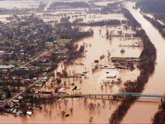 The Ohio and Kentucky rivers merge causing severe flooding Tuesday, March 4, 1997, in Carrollton, Ky.
