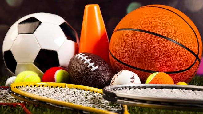 Balls and equipment from various sports
