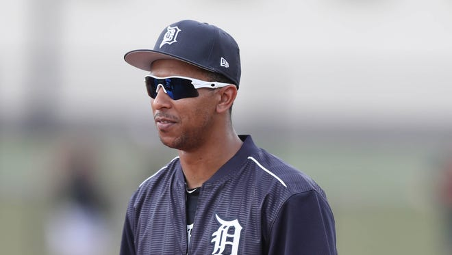 Anthony Gose watches drills during a workout at Tigers spring training Feb. 19, 2017 in Lakeland, Fla.