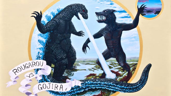 """""""Rougarou vs. Gojira"""" is one of the pieces on display in the """"Tallahassee International"""" exhibit at the FSU Museum of Fine Art."""