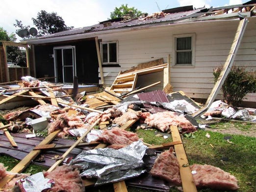 A confirmed tornado Sunday, July 13 tore the roof off the home of Dave and Laura Perry, of county Route 27 in the Town of Reading. Nobody was injured.