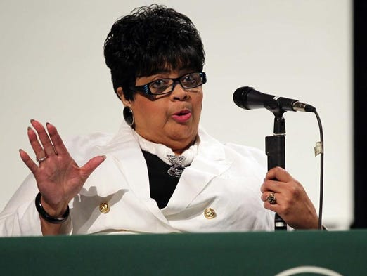 Linda Brown Thompson spoke about the historic Supreme Court decision that bears her family name, Brown v. Board of Education, on Thursday at the Central High School auditorium.
