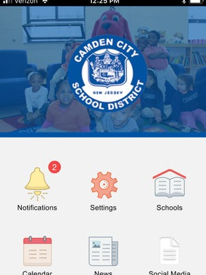 A screen grab shows how the Camden School District app appears on an iPhone.