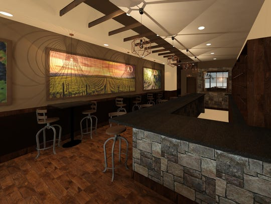Renderings of the interior view of Wine Time on Main,