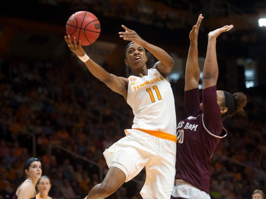 Tennessee's Diamond DeShields attempts to score while defended by Texas A&M's Khaalia Hillsman at Thompson-Boling Arena on Sunday, Feb. 12, 2017.