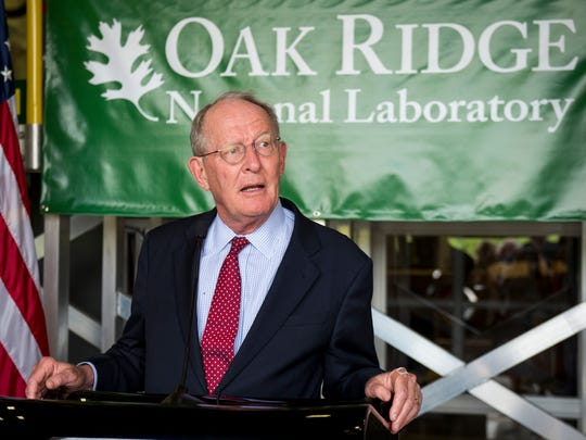 U.S. Sen. Lamar Alexander speaks following a tour of Oak Ridge National Laboratory's Manufacturing Demonstration Facility on Monday, May 22, 2017.