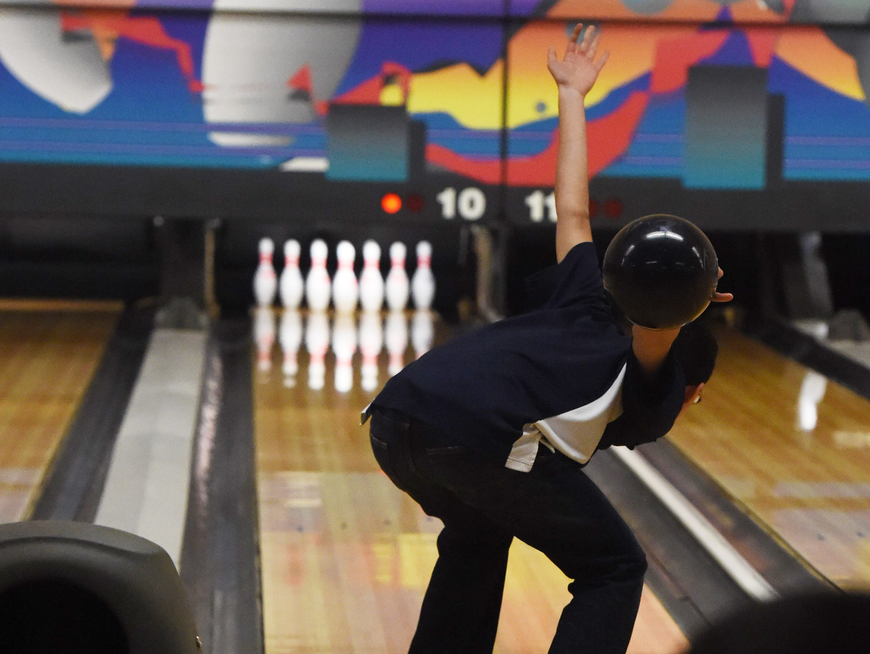 Beacon High School's Matthew Maffei bowls at Fishkill Bowl on Thursday.