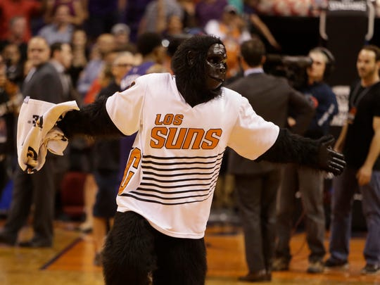 "Phoenix Suns mascot ""The Gorilla"" performs in the second half during an NBA basketball game against the Portland Trail Blazers, Wednesday, Nov. 2, 2016, in Phoenix. Phoenix defeated Portland 118-115 in overtime."