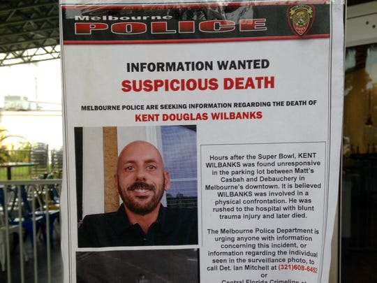 Poster distributed by Melbourne Police in connection with deadly Feb. 8 confrontation in the downtown area