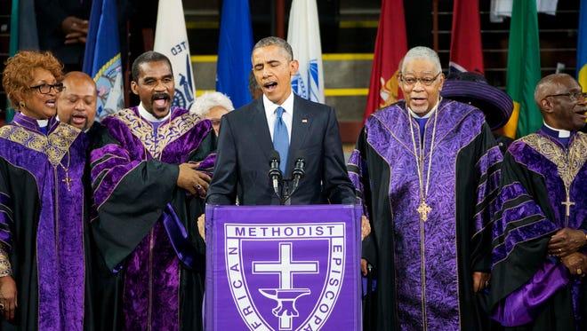 "President Obama sings ""Amazing Grace."""