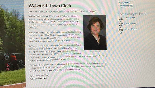 A screenshot of the web page for Walworth Town Clerk Susie Jacobs.