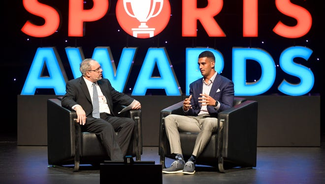Sports Director Dave Ammenheuser interviews Titans quarterback Marcus Mariota at The Tennessean Sports Awards presented by Farm Bureau Health Plans at the Tennessee Performing Arts Center's Andrew Jackson Hall on Tuesday, June 6, 2017 in Nashville, Tenn.