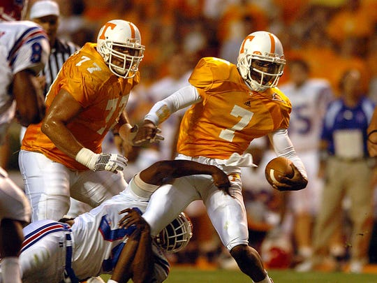 Tennessee quarterback (7) Brent Schaeffer is tackled by Louisiana Tech linebacker (34) Barry Robertson in a game Sept. 25, 2004.